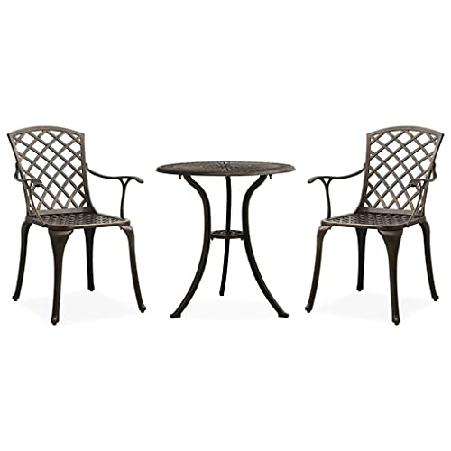 vidaXL Bistroset 3-TLG. Balkonset Gartenmöbel Sitzgruppe Balkonmöbel Gartenset Gartentisch Gartenstuhl Tisch Stühle Aluminiumguss Bronzen