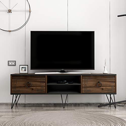 Homidea Milestone TV-Bänke & Lowboard - TV-Ständer mit Metallbeinen im rustikalen Design (Nußbaum/Schwarz)