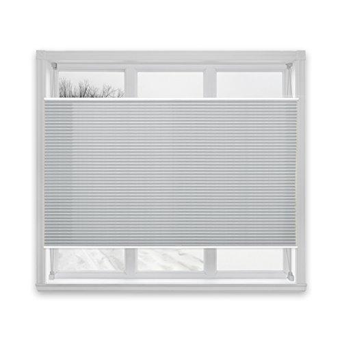 Floordirekt Plissee Rollo Magic | moderner Sichtschutz | Fensterrollo mit Klemmfix ohne Bohren | Klemmrollo | 7 Farben & viele Größen (110x100 cm, Hellgrau)