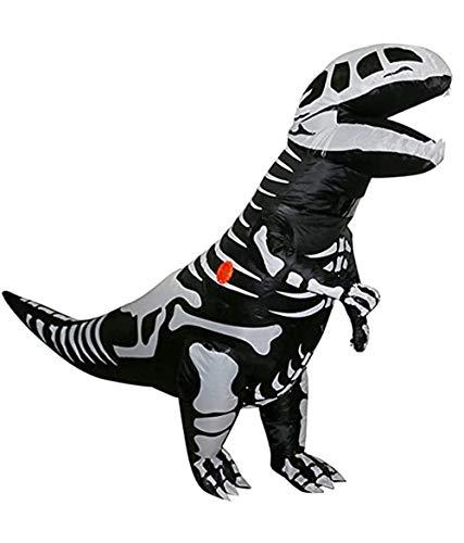 DISHUN Dinosaur Halloween Inflatable Costume Giant Skeleton Dinosaur Halloween Cosplay Blow Up Suit Fancy Dress Adult
