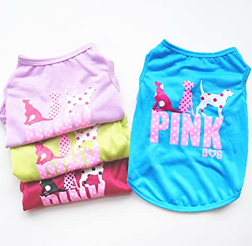 Dog Shirt for Small Medium Dog Boy|Girl 4 Pack Pink Dog Clothes for Puppy Cat Christmas New Year Apparel