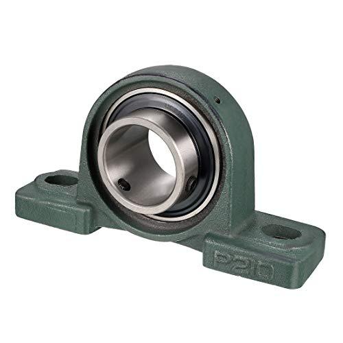 uxcell UCP210 Pillow Block Bearing, 50mm Bore Diameter, Cast Iron/Chrome Steel, Set Screw Lock