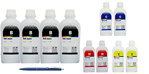 Ink-Mate Recambio de botella de tinta compatible para HP, 4X C2P23AE 1000ml negro, 2X C2P24AE 1000ml cian, 2X C2P25AE 1000ml Magenta, 2X C2P26AE 1000ml Amarillo y Pen Schneider