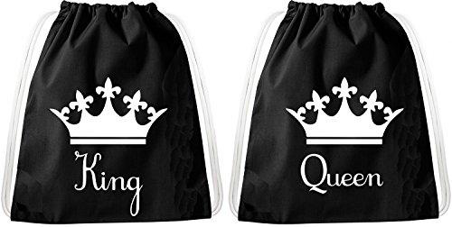 Set de Bolsas de Gimnasia para Parejas y Amigos / 20 diseños/TeeKiki Gym Bag con cotización/Bolsa: Negro/Mochila/Bolsa de Yute/Bolsa de Deporte/Hipster, Bag:King Queen Down