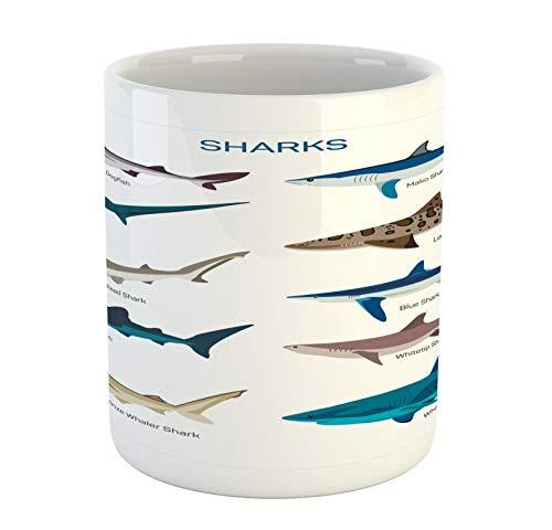 N\A Tazza di squalo, Modello Tipi di Squali Whaler Piked Dogfish Whlae Shark Design Marittimo Nautico, Tazza da caffè in Ceramica Tazza per Bevande al tè d'Acqua, 11 oz, Blue Tan