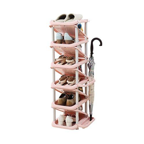 Scarpiera immagazzinamento Esplosivo al plastico corridoio Multi-Tier Cabinet della Torre Impilatore di Scarpe Mensole ad Angolo con portaombrelli Risparmio di Spazio Rosa