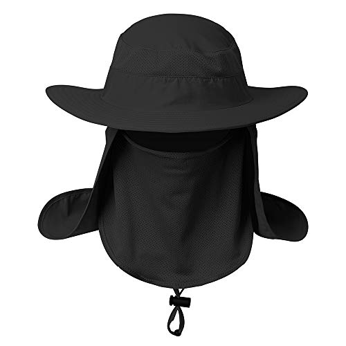 RidiTop UV Protection Face Shield Fishing Sun Hat for Men, Summer Safari Wide Brim Bucket Cap with Neck Flap, UPF 50+ Boonie Face Cover Mask with Hidden Net for Outdoor Hunting Travel Sport Black