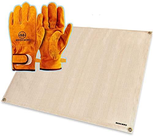 耐熱グローブ手袋 キャンプグローブ 耐熱 耐久質高工事 BBQ 家電製品の修理用 裏付き吸汗や防寒手袋 (グローブ+焚き火シート)