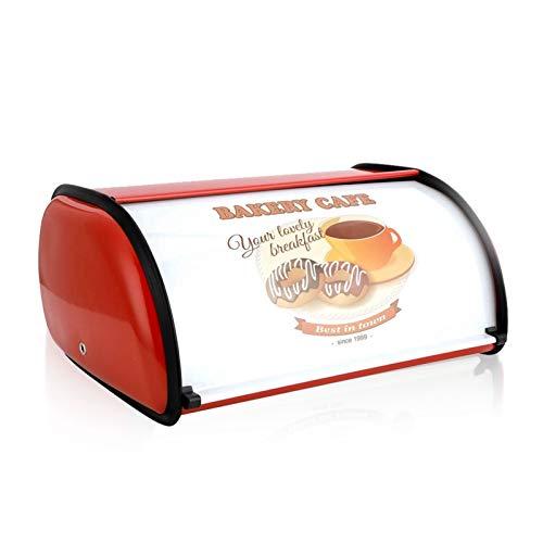 Brotkasten Im Retro Design Brotkasten Edelstahl Brot Aufbewahren Bread Box Brotkasten Mit Deckel Brotkasten Besteht Metall Retro Roll Top Bread Bin Large Deluxe Canister Storage, 36X24.5X16Cm, [Red]