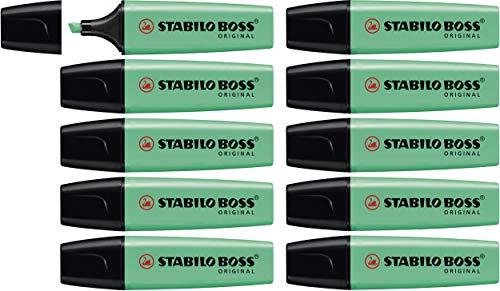 Marcador fluorescente STABILO BOSS Original – Caja con 10 unidades – Color turquesa