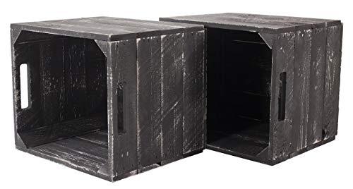 2X Vintage-Möbel 24 Neue graue Holzkiste Weiss Grey wash für IKEA Kallax Regal Expedit 33cm x 37,5cm x 32,5cm Einsätze Obstkiste Weinkiste weiß Aufbewahrungsbox Vintage-Look Würfel Aufbewahrungskiste