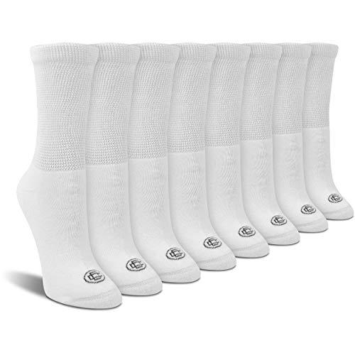 Doctor's Choice Women's Diabetic Crew Socks, Non-Binding, Circulatory, Cushioned, 4 Pack, White, Shoe Size 6-10, Sock Size 9-11