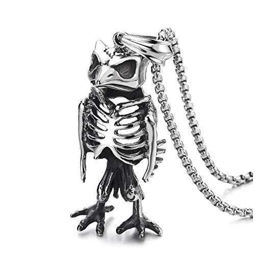 COOLSTEELANDBEYOND Acero Estilo Retro Búho Pájaro Carpintero Pescado Esqueleto óseo Collar con Colgante Hombre Muchachos, 75cm Cadena Trigo