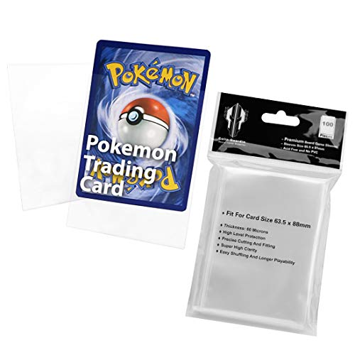 100 Card Sleeves for Standard Size 66 x 91mm, Clear Protector Premium Cards for Pokemon for Dragon Ball Super, Baseball, Dropmix, MTG (Clear)