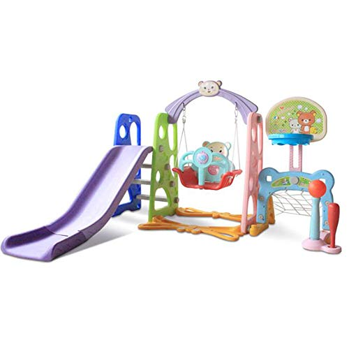 SHEHUIREN 6 IN 1Children Slide And Swing Set Easy Climbing Stairs Swing Seat Basketball Hoop And Extra Long Slide Give Your Kids A Joyful Childhood Toddler Indoor,Natural