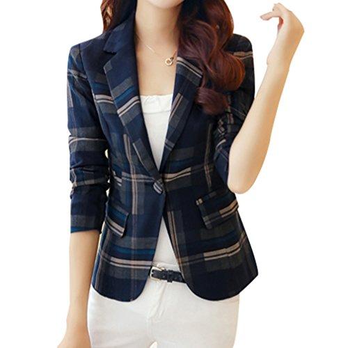 Yasong Women Long Sleeve Tartan Checked Casual Work Formal Suit Jacket Blazer Blue UK 14