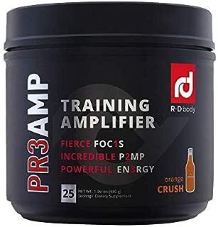 PR3AMP Pre Workout - The Best Pre Workout Supplement - Preworkout Training Amplifier - R+D Body Pre Workout (25 Servings) - Orange Crush