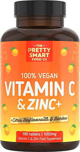 Powerful Vitamin C and Zinc Tablets - Vitamin C 1000mg with Zinc - 6 Month's Supply - Boosted with Citrus Bioflavonoids & Bamboo - For The Maintenance of a Normal Immune System - 180 Tablets - UK Made