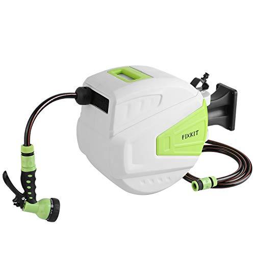 FIXKIT Wand-Schlauchtrommel Mobile Schlauchaufroller Automatischer Schlauchbox, Wand montierbar und Flexibel Abnehmbar, Halter 180°schwenkbar, mit 20 m + 2m Schlauch