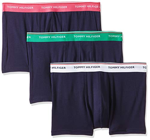 Tommy Hilfiger Herren 3p Wb Trunk Boxershorts, Weiß (Jellybean/Magenta/Pvhwhite), Medium (Herstellergröße:)