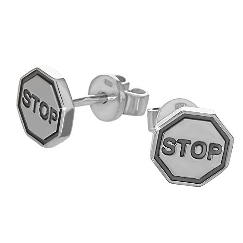 NKlaus Silber Paar große Ohrstecker 925er Sterlingsilber Ohrringe Stop Warnzeichen neu 6186