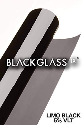 BLACKGLASS IX® Scheibentönungsfolie Spitzenqualität Tönungsfolienrolle für Autos, Transporter und Fahrzeuge 8% VLT, 6 m x 65 cm, 2-lagig, tiefschwarz