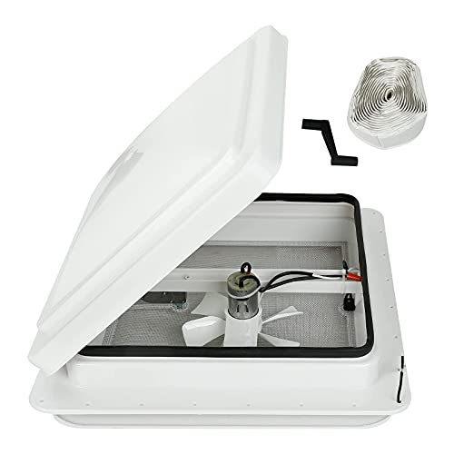 LucaSng 14  RV Roof Vent for Camper Trailer Universal White Lid Roof Vent with 12V RV Vent Fan 6  Blades White lid Inner for Garnish Ring