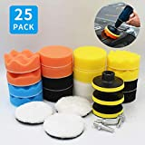 Hashiru Polishing Pads for Drill,3inch Wool Buffing Pads for Car Furniture Polishing Waxing and Sealing Glaze 25Pcs Car Buffers and Polishers Compound Sponge Drill Attachment Kit