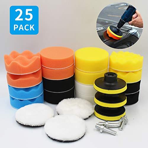 Hashiru Polishing Pads for Drill,3inch Wool Buffing Pads for Car Furniture Polishing Waxing and Sealing Glaze 25Pcs Car Buffers and Polishers Compound Sponge Drill Attachment Kit