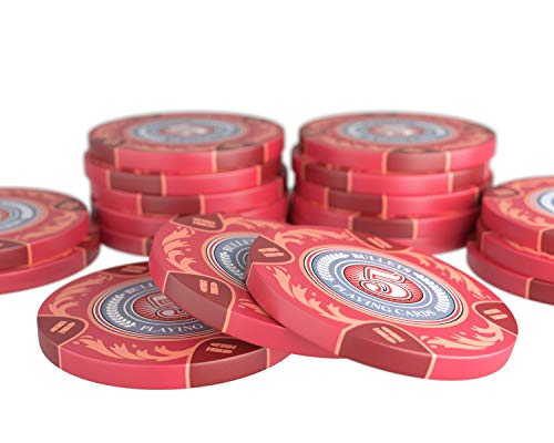 Bullets Playing Cards - 20 Clay Pokerchips Tony für Pokerset - Wert 5 - 14g - 4cm Durchmesser - Farbe Rot