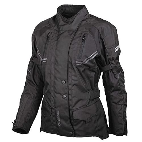 GERMAS gms Taylor Damen Motorradjacke mit Protektoren - Textil Motorradjacke, wasserdicht, winddicht, Farbe:schwarz, Größe:D9XL