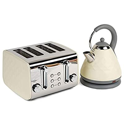 Salter COMBO-3843 Naturals 4-Slice Toaster & 1.8 L Pyramid Kettle, Cream