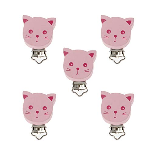 JunYe 5Pieces Baby Pacifier Clips Wood Metal Infant Soother Clasps Holders Accessories DIY Bebe Chupete Clip - Pink