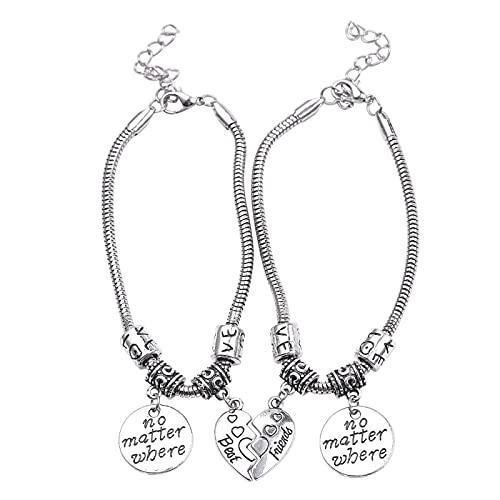 YITIANTIAN Charm Bracelets Best Friends No Importa dónde Pulseras Half Heart Sanke Chain Pulseras Regalos para Amigos