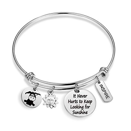 Winnie The Pooh Inspired Gifts Eeyore Quote Bracelet Inspiration Gift It Never Hurts to Keep Looking for Sunshine Bracelet Disney Jewelry BBF Bracelet Graduation Gifts (BR-KeepLookingSunshine)