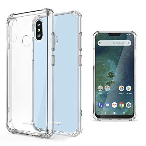 Moozy Funda Silicona Antigolpes para Xiaomi Mi A2 Lite, Redmi 6 Pro - Transparente Crystal Clear TPU Case Cover Flexible