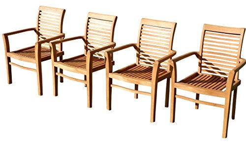 4Stk ECHT Teak Design Gartensessel Gartenstuhl Sessel Holzsessel Gartenmöbel Holz sehr robust Modell: 4X Alpen von AS-S