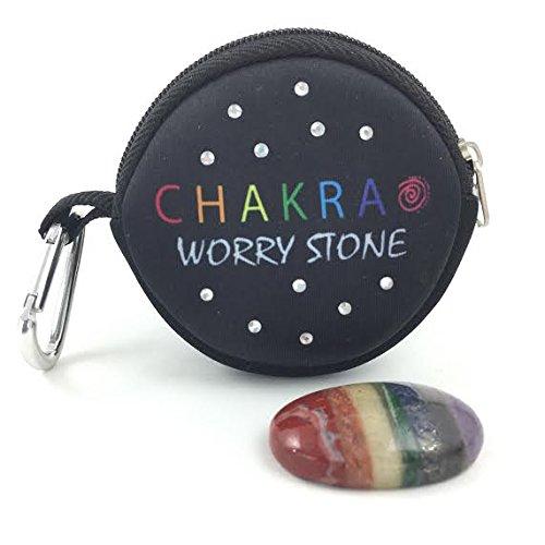 Chakra Worry Stone- 7Bonded Chakra Palm und Daumen Stone-Spinner Steine Meditation Rainbow Stein mit Wechselrahmen Neopren Tragetasche