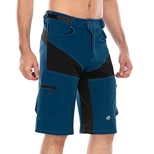 SKYSPER Pantaloncini da MTB Uomo, Abbigliamento da MTB Pantaloni Corti Bici con Striscia Riflettente per Bici off Road, attività all'aperto