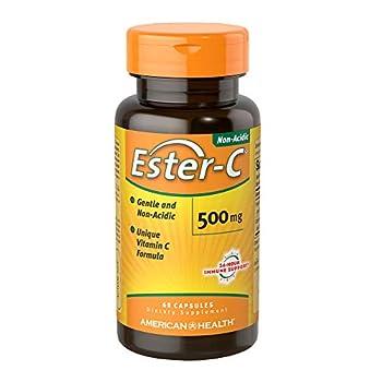 American Health Ester-C 500 mg - 60 Capsules - Gentle On Stomach Non-Acidic Vitamin C - Non-GMO Gluten Free - 30 Servings