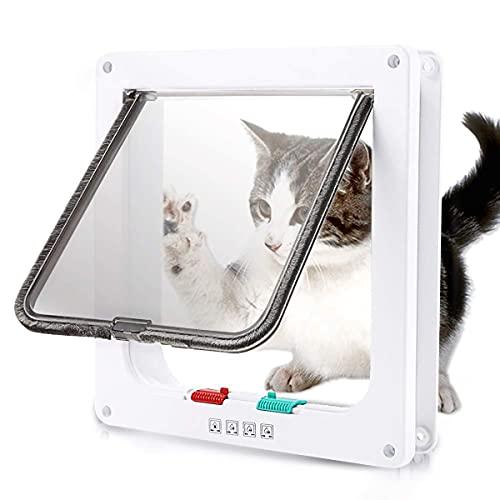 Gattaiola Porta Basculante per Gatti e Cani,Gattaiola con 4 Impostazioni di Bloccaggio Programmate,Entrata e Uscita Controllabile,Accesso Sicuro per Animali Domestici,23.5 * 25 * 5.5cm