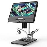 Fesjoy AD208S Pantalla LCD de 8,5 Pulgadas Microscopio Digital 5X-1200X 1280 * 800 Herramienta de Soldadura de Alcance Ajustable 1080P con Dos Luces de Relleno