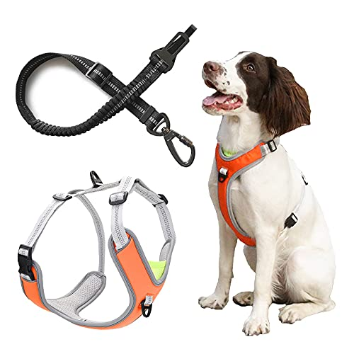 WZWHJ Useful Dog Car Harness Seatbelt Set Multifunction Breathable Fabric Vest in Vehicle for Dogs with Vehicle Connector Strap for Small Medium Large Dogs (Size : MMedium)