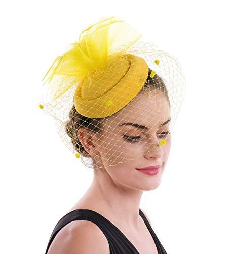 LUCKY Leaf Las mujeres chica tocados pelo Clip Horquilla sombrero boda coctel Tea Party sombrero de la pluma...