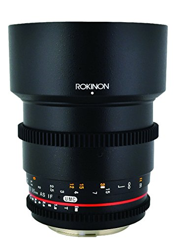 Rokinon CV85M-N 85mm t/1.5 Aspherical Lens for Nikon with De-Clicked Aperture and Follow Focus Compatibility Fixed Lens