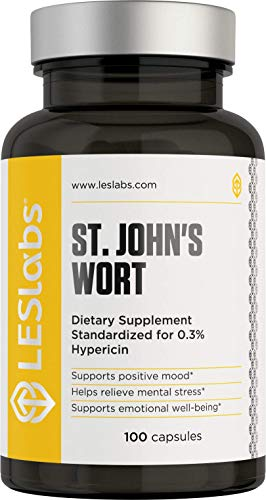 LES Labs St. John's Wort Extract, Natural Supplement for Stress & Anxiety Relief, Positive Mood, 0.3% Hypericin, 500mg, 100 Capsules
