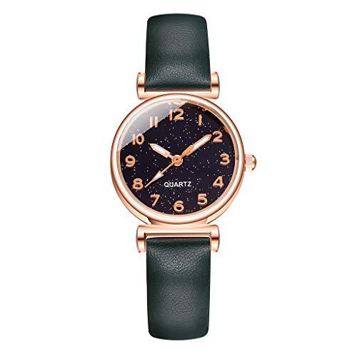 Fenverk Damen Uhr Analog Quarz Armbanduhr, Damenuhren Mit Blau Sternenhimmel-Zifferblatt FüR Frauen,Frauen Geschenk,Uhr Rosegold Damen(B)