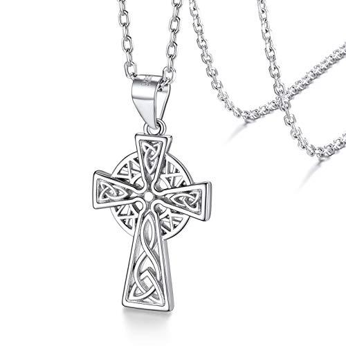 Silvora Women Irish Celtic Cross Pendant Necklace Sterling Silver Vintage Celtic Knot Jewelry