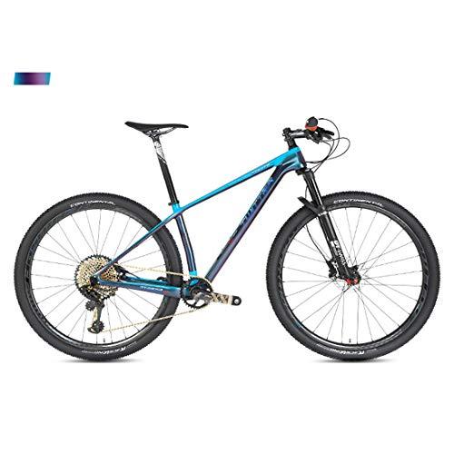MICAKO Bicicleta Montaña 27.5/29, XX1-12 Velocidad, Doble Freno Disco, Full Suspension, Fibra de Carbon,Azul,29inch*19inch