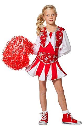 narrenkiste W3182-A-128 rot-weiß Kinder Mädchen Cheerleader Tänzer Trikot Kostüm Gr.128